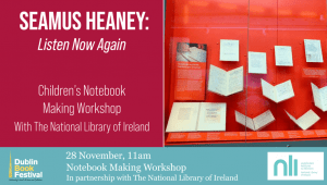 Notebook-Making-Workshop-With-Banner, Dublin Book Festival
